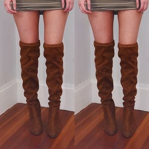 Shoes - Thigh High Brown Suede Heeled Boot